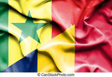 Waving flag of Chad and ,Senegal