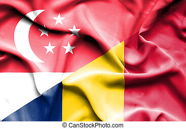 Waving flag of Chad and Singapore