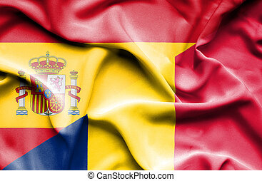 Waving flag of Chad and Spain