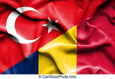 Waving flag of Chad and Turkey