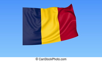 Waving flag of Chad, seamless loop. Exact size, blue background. Part of all countries set. 4K ProRes with alpha.