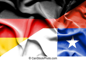 Waving flag of Chile and Germany