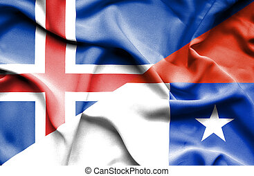 Waving flag of Chile and Iceland