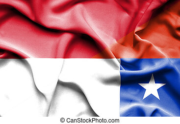 Waving flag of Chile and Indonesia