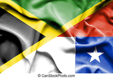 Waving flag of Chile and Jamaica