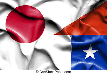 Waving flag of Chile and Japan