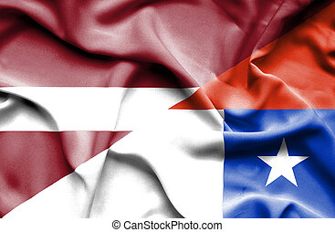 Waving flag of Chile and Latvia