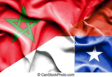 Waving flag of Chile and Morocco