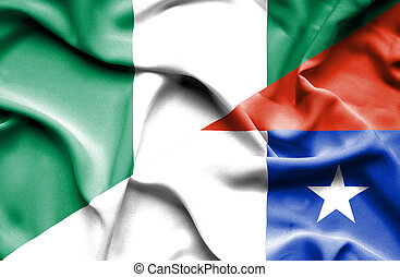 Waving flag of Chile and Nigeria