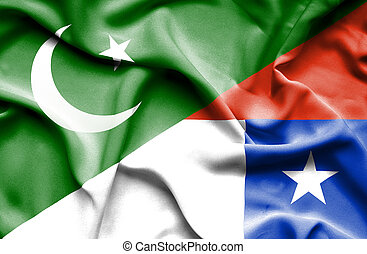 Waving flag of Chile and Pakistan
