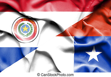 Waving flag of Chile and Paraguay