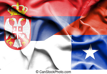 Waving flag of Chile and Serbia