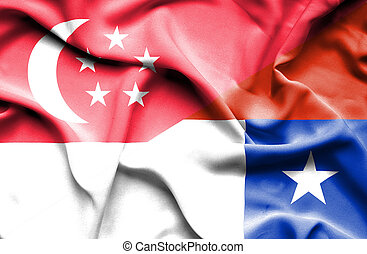 Waving flag of Chile and Singapore