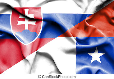 Waving flag of Chile and Slovak