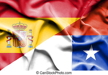 Waving flag of Chile and Spain