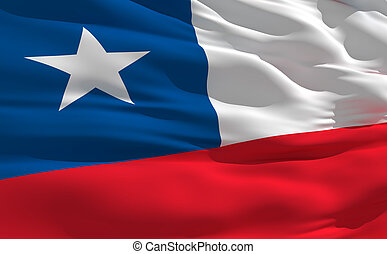 Waving flag of Chile - Fluttering flag of Chile on the wind