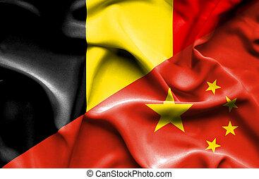 Waving flag of China and Belgium