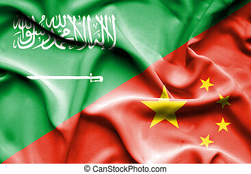 Waving flag of China and Saudi Arabia