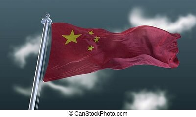 Waving Flag of China in slow motion