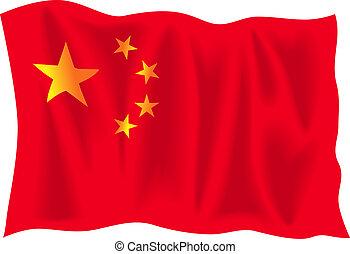 Waving flag of China isolated on white background
