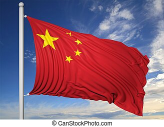 Waving flag of China on flagpole, on blue sky background.