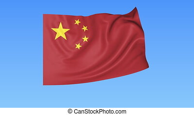 Waving flag of China, seamless loop. Exact size, blue...