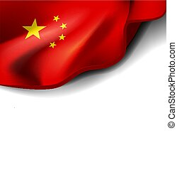 Waving flag of china. Vector illustration on white