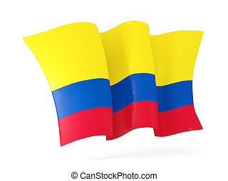 Waving flag of colombia. 3D illustration