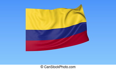 Waving flag of Colombia, seamless loop. Exact size, blue background. Part of all countries set. 4K ProRes with alpha.