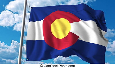 Waving flag of Colorado. 4K clip