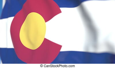 Waving flag of Colorado. Close-up, loopable 3D animation -...