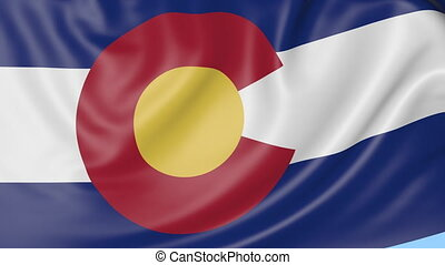 Waving flag of Colorado state against blue sky. Seaemless loop.
