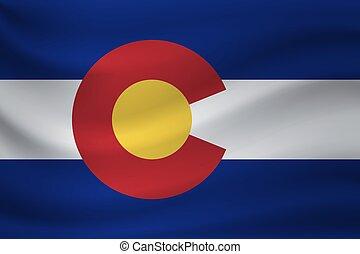 Waving flag of Colorado. Vector illustration