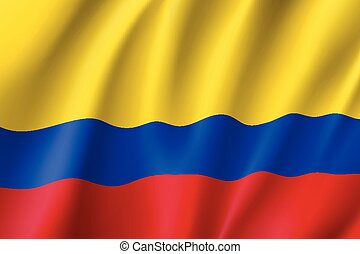 Republic Columbia national flag. Patriotic symbol in official country colors. Illustration of South America state realistic flag. Vector icon