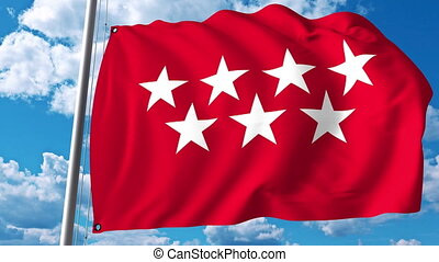 Waving flag of Community of Madrid one of the autonomous...