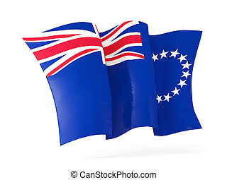 Waving flag of cook islands isolated on white. 3D illustration