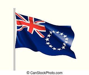 Waving flag of Cook Islands