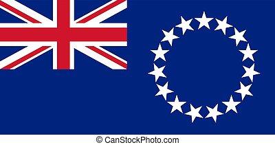 Waving flag of Cook Islands. Vector illustration