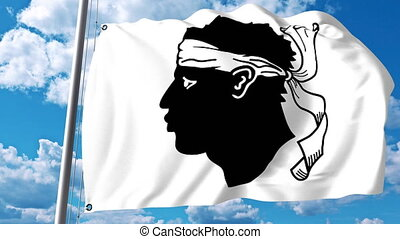 Waving flag of Corsica a region of France - Waving flag of...