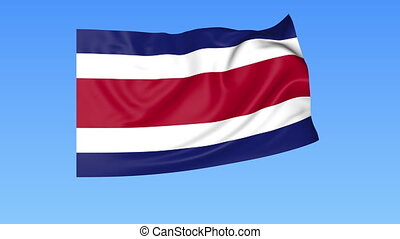 Waving flag of Costa Rica, seamless loop. Exact size, blue...