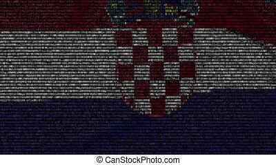 Waving flag of Croatia made of text symbols on a computer...