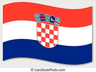 Waving flag of Croatia vector graphic. Waving Croatian flag illustration. Croatia country flag wavin in the wind is a symbol of freedom and independence.