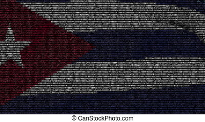 Waving flag of Cuba made of text symbols on a computer...