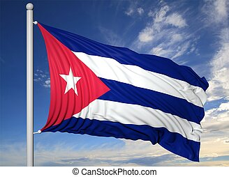Waving flag of Cuba on flagpole, on blue sky background.