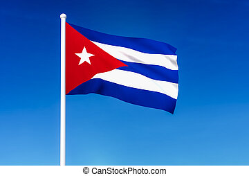 Waving flag of Cuba on the blue sky background