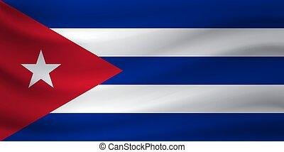Waving flag of Cuba. Vector illustration