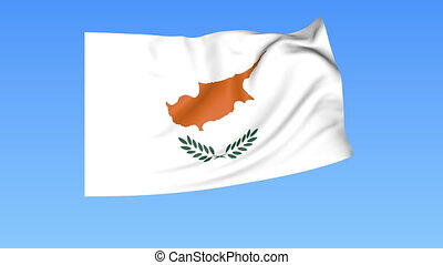 Waving flag of Cyprus, seamless loop. Exact size, blue background. Part of all countries set. 4K ProRes with alpha