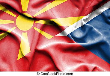 Waving flag of Czech Republic and Macedonia