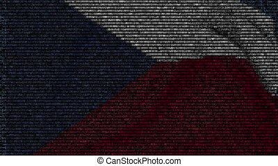 Waving flag of Czech Republic made of text symbols on a computer screen. Conceptual loopable animation