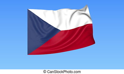 Waving flag of Czech Republic, seamless loop. Exact size, blue background. Part of all countries set. 4K ProRes